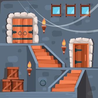 Piwnica zamkowa. starożytne wejście do więzienia ciemne wnętrze krypty z drzwiami i klatką schodową płaski obraz. zamek średniowieczny kamień, ilustracja architektury pałacu