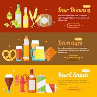 Piwo baner karty poziome zestaw płaski