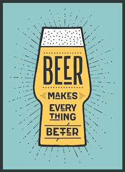 Piwo. plakat lub baner z tekstem beer makes everything better. kolorowa grafika do druku, internetu lub reklamy. plakat do baru, pubu, restauracji, motyw piwa. ilustracja
