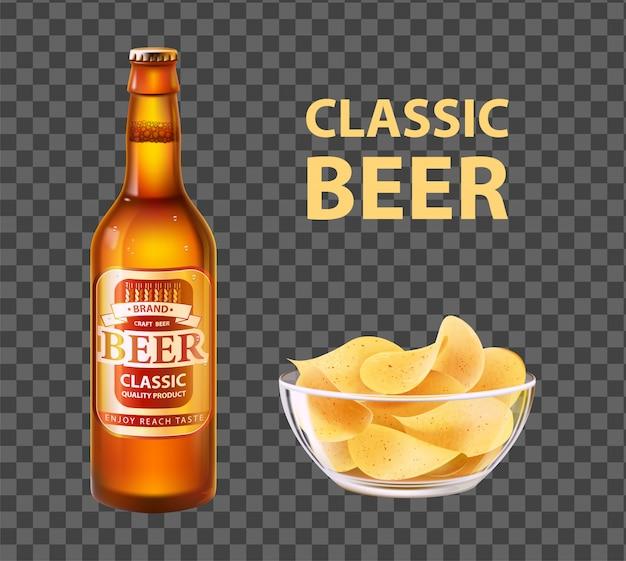 Piwo rzemieślnicze w butelce i chipsy w misce na białym tle