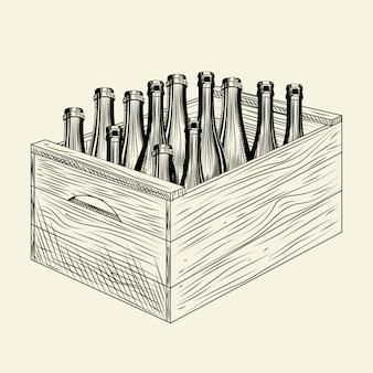 Piwo rzemieślnicze w drewnianej skrzyni. pudełko z butelką z alkoholem. cydr jabłkowy w pudełku