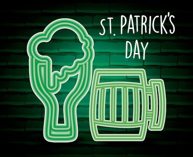 Piwo saint patricks dzień etykiety neon