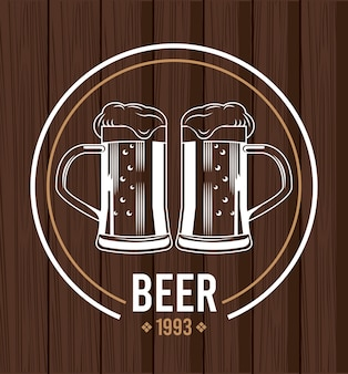 Piwo słoiki napoje w drewnianej konstrukcji ilustracji
