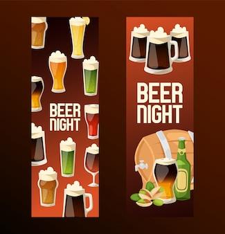 Piwo w piwiarni browaru beermug beerbottle i ciemnego ale ilustraci