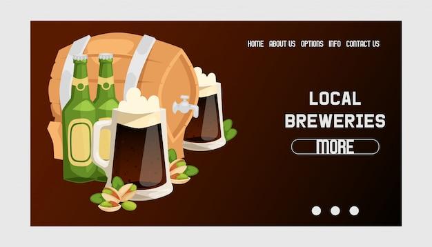 Piwo w piwnej browar stronie internetowej beermug beerbottle i ciemnego ale ilustraci