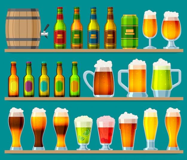 Piwo w piwnym browarze beermug lub beerbottle i ciemne ale w barze na imprezie piwnej z alkoholem i zaparzone w pubie zestaw ilustracji na białym tle