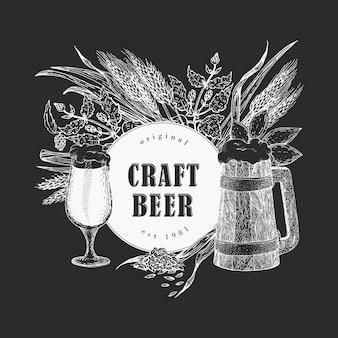 Piwo wektor ręcznie rysowane ilustracje na tablicy kredą. piwo vintage