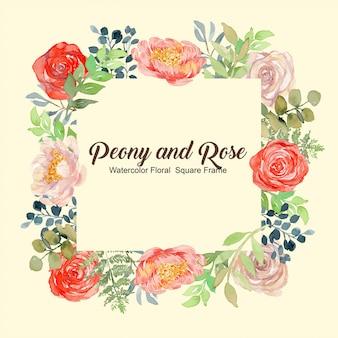 Piwonia i róża akwarela kwiatowy kwadrat tło ramki