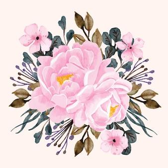Piwonie kwiatowy bukiet różowy akwarela