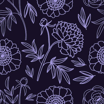 Piwonie. kwiatowy wzór dekoracyjny. . wzór na na białym tle