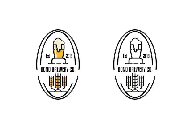 Piwowarski Znaczek Wektor Okrągłe Godło Lub Logo Vintage Premium Wektorów
