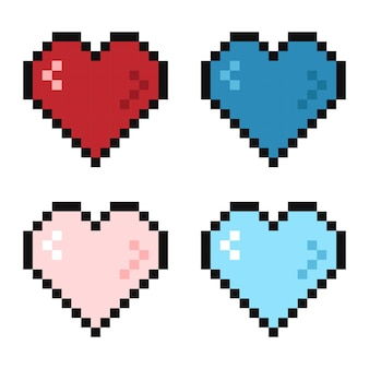 Pixel 8-bitowe serce w różnych kolorach życia
