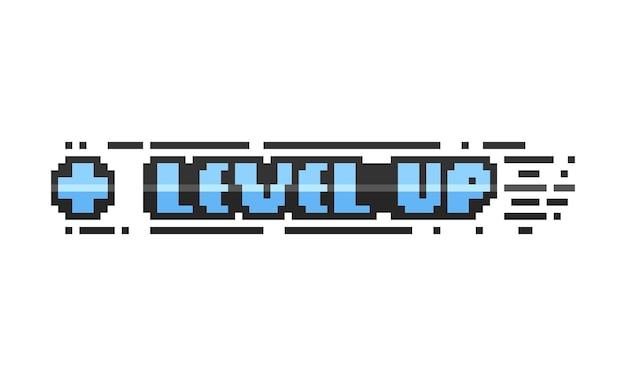 Pixel art blue level up text design