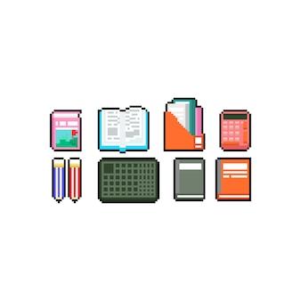Pixel art book i zestaw ikon papeterii.