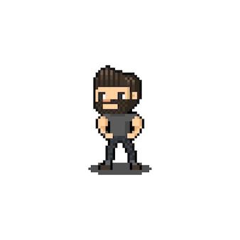 Pixel art cartoon beard man character.