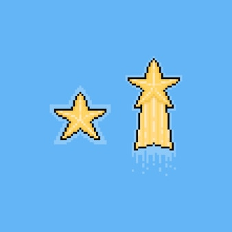 Pixel art cartoon boże narodzenie złota gwiazda.