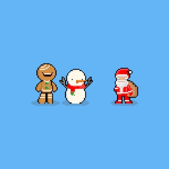 Pixel art cartoon christmas character. 8bit.