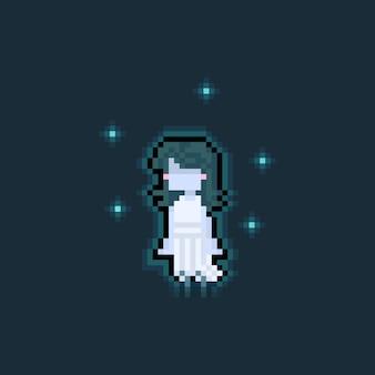 Pixel art cartoon cute girl ghost with 5 blue spirit.