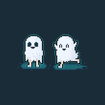 Pixel art cartoon cute little ghost character.