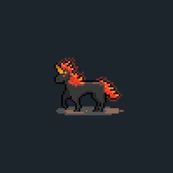 Pixel art cartoon dark fire jednorożec.