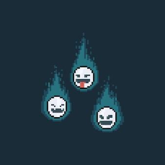 Pixel art cartoon ghost mask ze świecącym niebieskim płomieniem