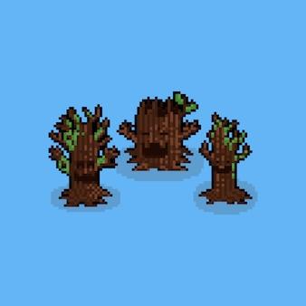 Pixel art cartoon ghost tree set