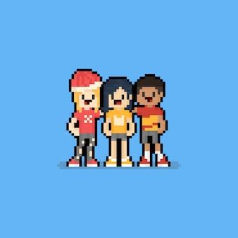 Pixel art cartoon group of friends.8bit.