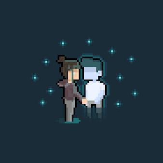 Pixel art cartoon płacząca dziewczyna i znikający chłopiec-duch