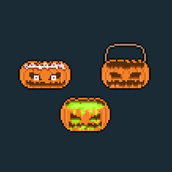 Pixel art cartoon pumkin monster head icon set.