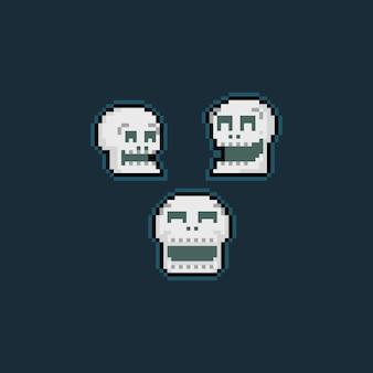 Pixel art cartoon śmiech czaszki głowa ikona zestaw.