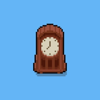 Pixel art cartoon vinrage table clock icon