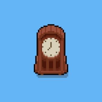 Pixel art cartoon vinrage table clock icon
