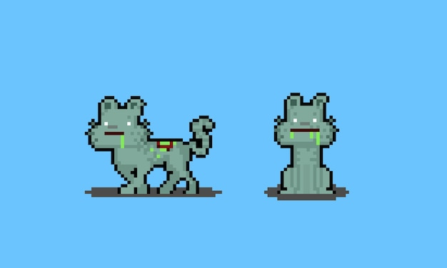Pixel art cartoon zombie cat postacie.