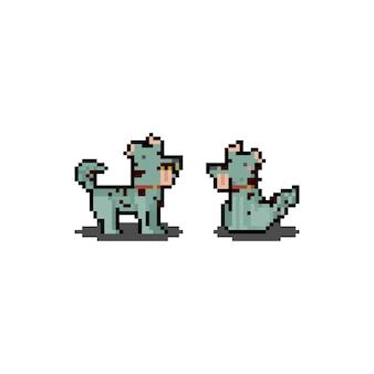 Pixel art cartoon zombie dog. halloween. 8 bitowy.