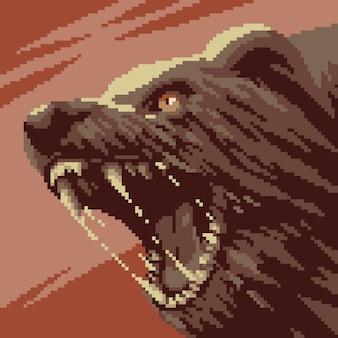 Pixel art dzikiego gniewnego niedźwiedzia