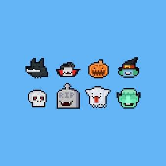Pixel art halloween kreskówka zestaw głowy. 8 bitowy.