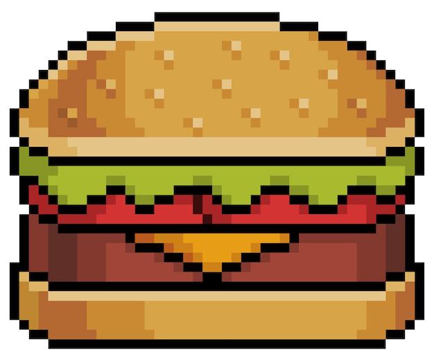 Pixel art hamburger z chlebem, stekiem serowym, sałatą i pomidorem kawałek gry na białym tle