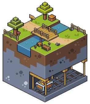 Pixel art izometryczny krajobraz z drzewami, mostem nad jeziorem, kopalnią