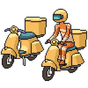 Pixel art kierowcy roweru dostawczego