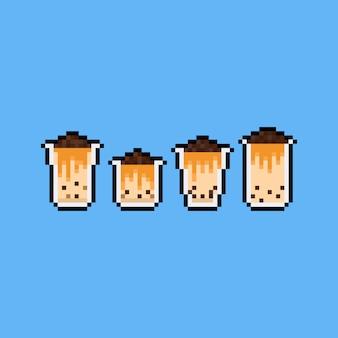 Pixel art kreskówka mleczna herbata z bąbelkami na szczycie zestaw ikon.