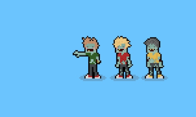 Pixel art kreskówkowe postacie zombie