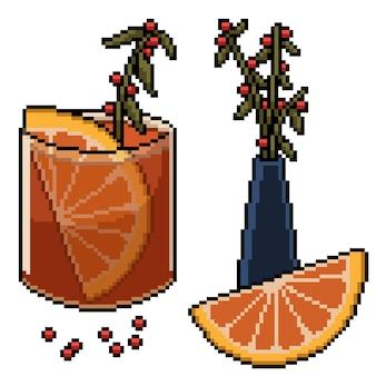Pixel art luksusowego zestawu do napojów