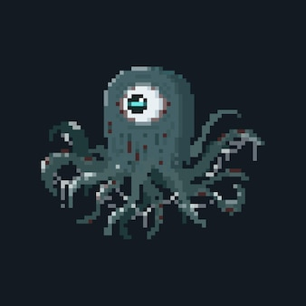 Pixel art macki potwór z efektem śluzu