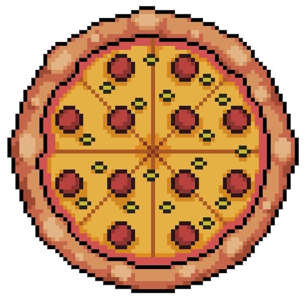Pixel art pizza z pepperoni i serem. ikona gry bitowej