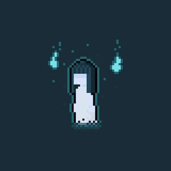Pixel art pływający duch kobiety z dwoma niebieskimi duchem.