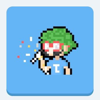 Pixel art portrait joker man character.