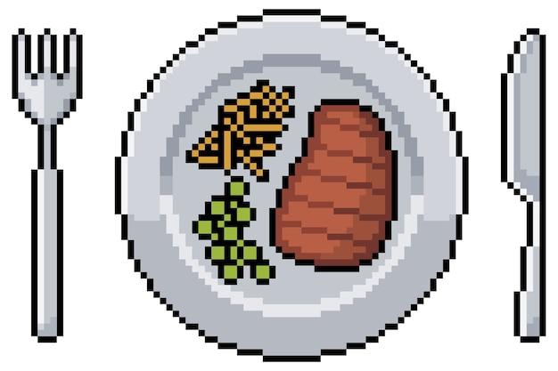 Pixel art posiłek ze stekiem frytkami i groszkiem talerz, widelec i nóż. przedmiot z gry