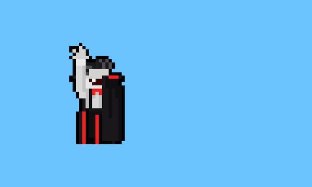 Pixel art postać z kreskówki dracula. 8 bitowy. halloween.