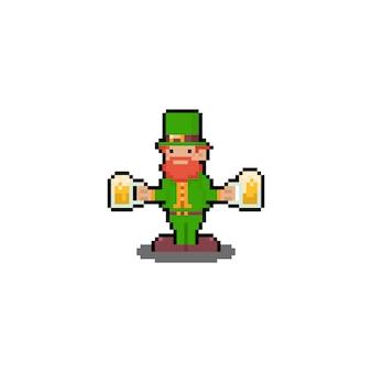 Pixel art postać z kreskówki dzień świętego patryka z piwem.