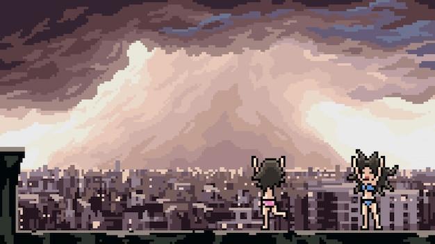 Pixel art scena burza taniec